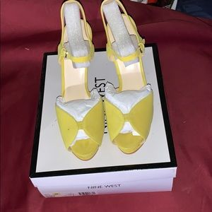 Yellow suede open toe platform sandals